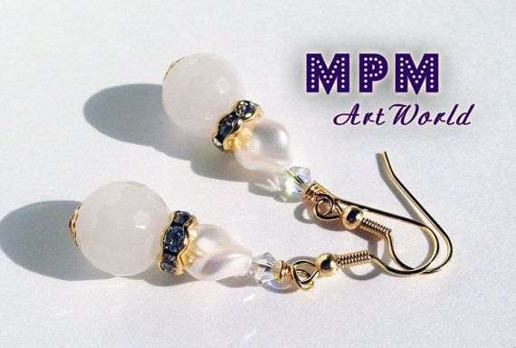 Snow Quartz Earrings, White Earrings, Gold Plated, Wedding, Mother's, Bridesmaid, Birthday, Grandmother Jewelry, Simple Jewelry, Dangle