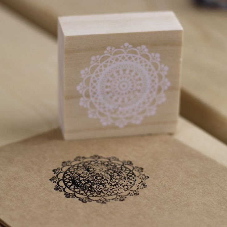 Round Wooden Stamp - Doily from My Party Store