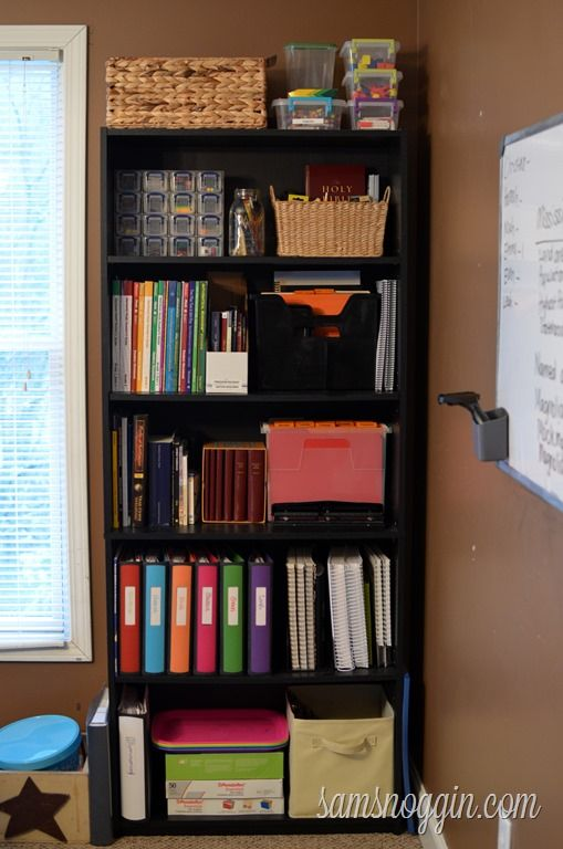 Homeschool bookcase storage organization