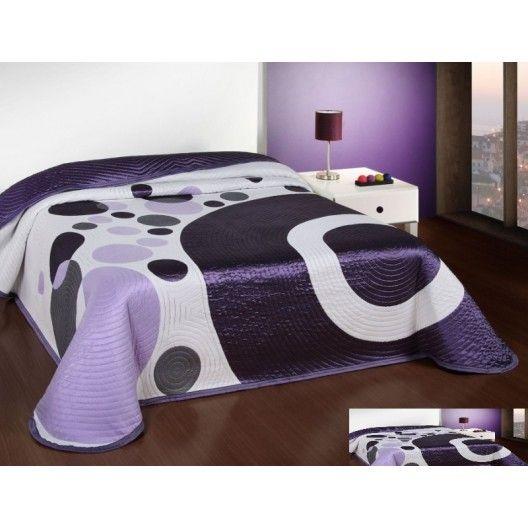 Luxusný obojstranný prehoz na posteľ fialovo biely s krúžkami