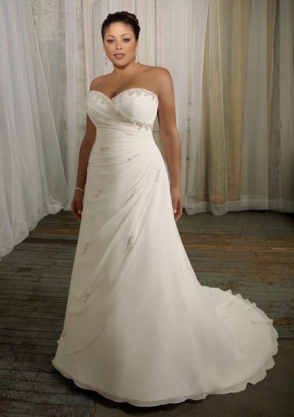 A-Line Sweetheart Neckline Chiffon Plus Size Wedding Dresses