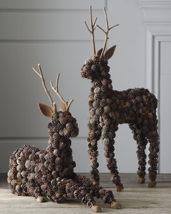 """Alpine"" Pine Cone Deer at Horchow. These two woodland guests are ready to add to the festivities at holiday gatherings. Display them au naturale or bedeck them in ribbons, greenery, and ornaments to create a look that is uniquely yours.  Handcrafted of pine cones, twigs, and wood on a wire frame."
