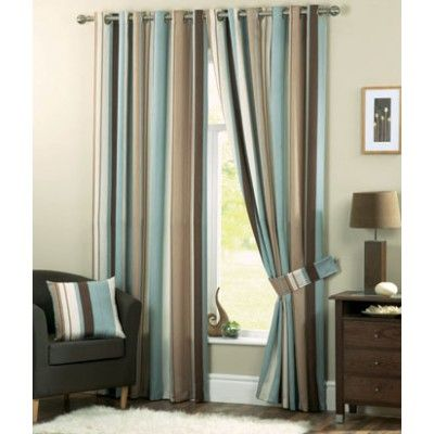 Whitworth Ready Made Curtains Duckegg    Contemporary striped curtain design  Modern chrome eyelet heading  Fully lined curtains  Matching filled cushions available  Matching tie backs available