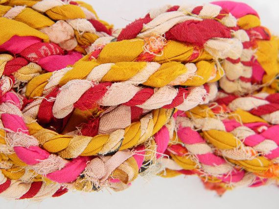 SariRope 10 Yds - Yellow Pink Red - Multicolored Recycled Sari RopeYellow Pink, Multicolored Recycle, Sarirop 10, Saris Ropes, Painting Art, Pink Red, Recycle Saris, 10 Yds, Art Painting