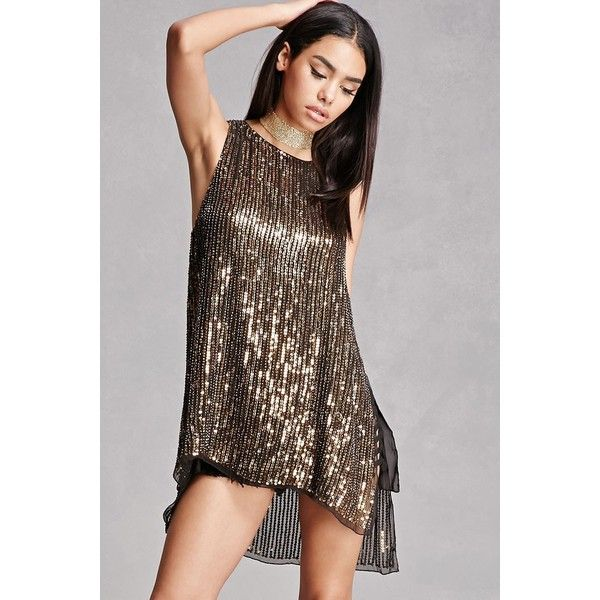 Forever21 Sequined Beaded Top ($78) ❤ liked on Polyvore featuring tops, gold, sequin top, forever 21, sleeveless tops, button top and sequin sleeveless top