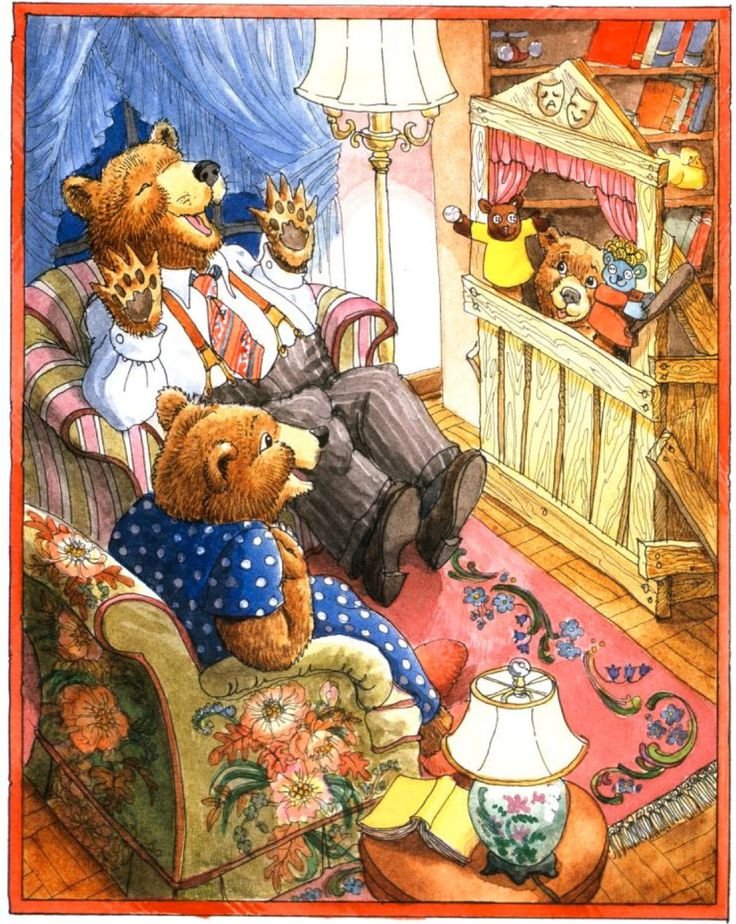 """""""How Do You Say It Today, Jesse Bear?"""" by Nancy White Carlstrom, illustrated by Bruce Degen, 1992 (http://www.amazon.com/How-You-Today-Jesse-Bear/dp/0027172767/ref=pd_sim_b_2)"""