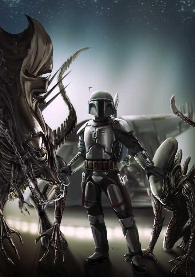 Jango Fett and His Alien Pets by rhymesyndicate (deviantArt) aka Robert Shane