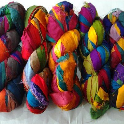 Recycled Sari Silk Ribbon Yarn 50 Yards by willowmistacres on Etsy, $12.00
