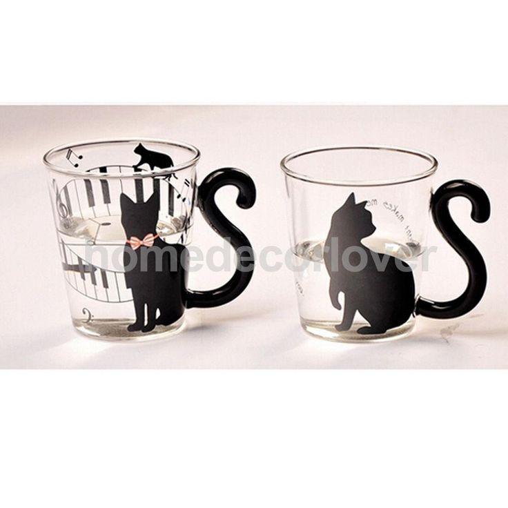 Encontrar Más Tazas/Mugs/Tarros Información acerca de Gato creativo lindo gatito vidrio taza taza taza de té taza de café con leche palabras inglesas, alta calidad taza de la taza, China taza de café Proveedores, barato taza de vidrio de HomeDecorLover en Aliexpress.com