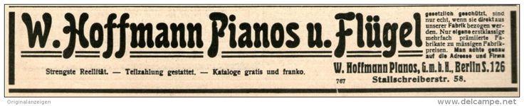 Original-Werbung/ Anzeige 1914 - HOFFMANN PIANOS & FLÜGEL BERLIN  - ca. 180 x 30 mm