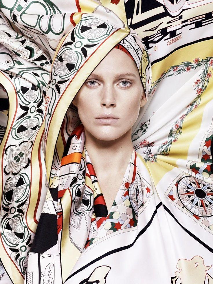 hermes scarves shoot5 Iselin Steiro Models Hermès Printed Scarves for Spring 14 Catalogue