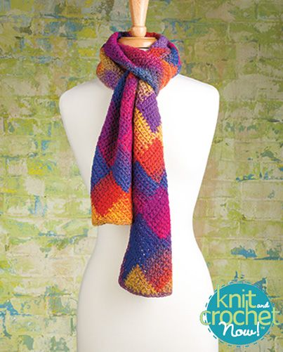 Free Crochet Entrelac Scarf Crochet Pattern Download -- Designed by Suzanne Dey. Featured in Season 5, episode 509, of Knit and Crochet Now! TV. Download here: http://www.knitandcrochetnow.com/crochet-entrelac-scarf-knit-and-crochet-now-season-5-episode-509/