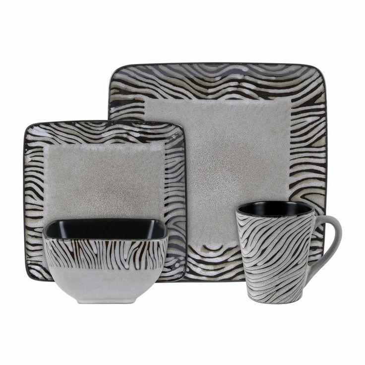 16pc Dinnerware Set Square Black White Zebra Animal Safari Print Plate Bowl Mug  sc 1 st  Pinterest & 99 best Dinnerware u0026 Flatware images on Pinterest | Dish sets ...