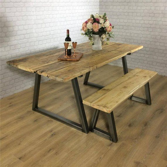 Industrial Dining Table Rustic Solid Wood Kitchen Bench Set