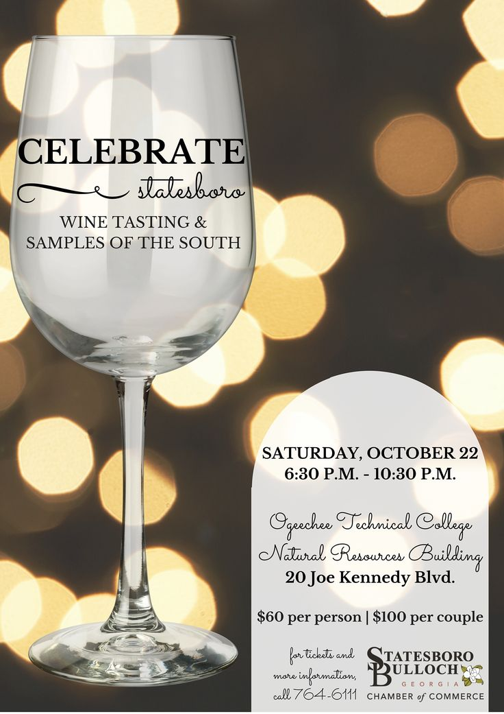 Missing Moonlight & Magnolias? Come out for Celebrate Statesboro: Wine Tasting & Samples of the South on Saturday, Oct. 22! $60 per person | $100 per couple. Wine and beer distributors; restaurant vendors like: Braswell's, Honey Catering, Colonial House of Flowers, The Clubhouse, Scratch Made Catering, and more! Amazing auction items, band, and lots of fun! 21+ only. Purchase tickets at 912-764-6111, or at the event.
