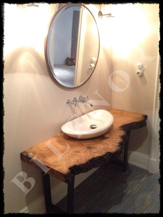 Kestane doğal ahşap banyo tezgah uygulaması, daha fazlası için www.hvstasarim.com
