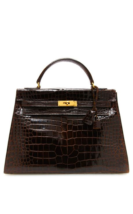 Shop Hermes 32Cm Marron Fonce Crocodile Sellier Kelly by Heritage Auctions Special Collections - Moda Operandi