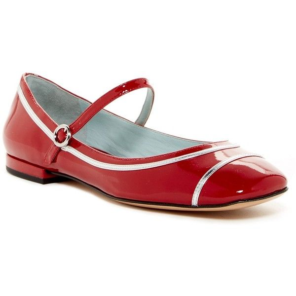 Marc Jacobs Poppy Mary Jane Ballet Flat ($74) ❤ liked on Polyvore featuring shoes, flats, red, mary jane flats, mary-jane shoes, red mary jane flats, red leather shoes and ballet flats