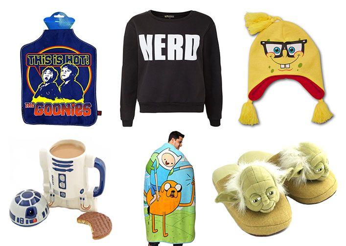 Every nerd needs cosy nerd swag in the winter! #winter #nerd #swag Image Credits: Goonies Hot Water Bottle (TiesPlanet), NERD Sweatshirt (NewLook), Spongebob Beanie (WearYourBeer), R2D2 Mug (Gadgets.co.uk), Adventure Time Blanket (ThinkGeek) & Yoda Slippers (NeatoShop).