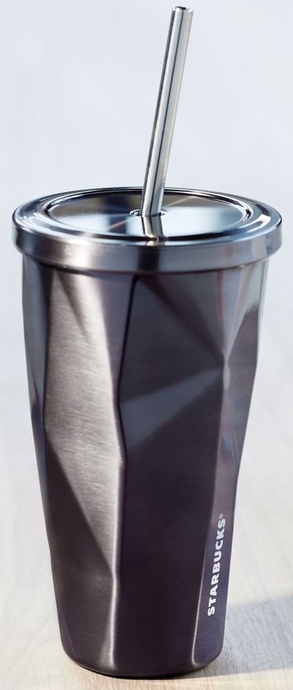 2014 Limited Edition Starbucks Gunmetal Black Stainless Steel Cold Cup Tumbler #Starbucks