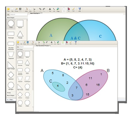 draw Venn diagrams online using easy to use tools and Venn diagram templates