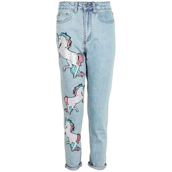 Sequin Unicorn Mom Jeans by Kuccia (€75) ❤ liked on Polyvore featuring jeans, pants, bottoms, unicorn jeans, blue jeans, patching blue jeans, sequin jeans, topshop jeans and patched jeans