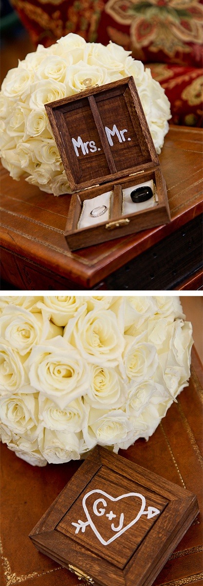Mr. + Mrs. wedding ring keepsake box.  Could be a shadow box on the wall, if we ever decide to get new rings.