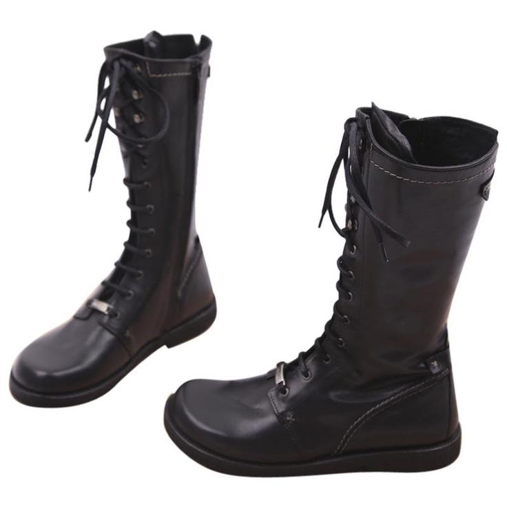 Lange støvler fra Angulus i sort skind.  www.trendyshop.dk