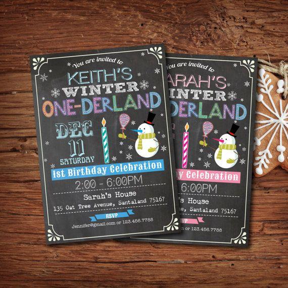 Printable Kid Birthday Chalkboard Invitation. Winter Onederland baby's 1st birthday. Boy or girl. Christmas birthday invite photo card. KB08...