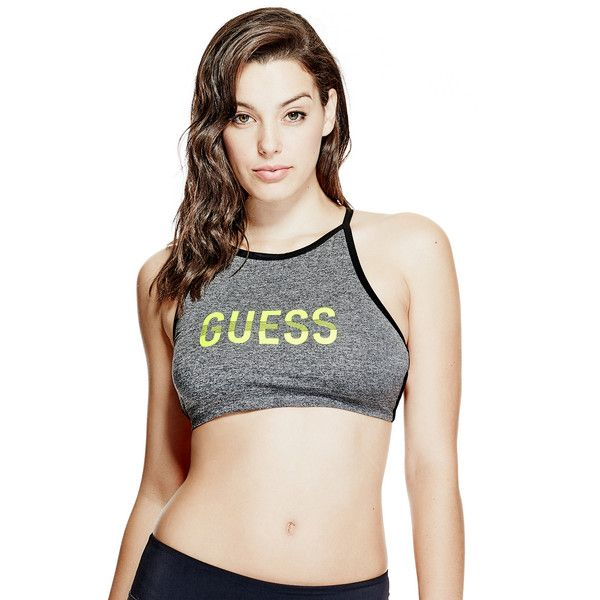 GUESS Active Wrap Bra ($39) ❤ liked on Polyvore featuring activewear, sports bras, high neck sports bra, pink sportswear, petite sportswear, pink sports bra and petite activewear