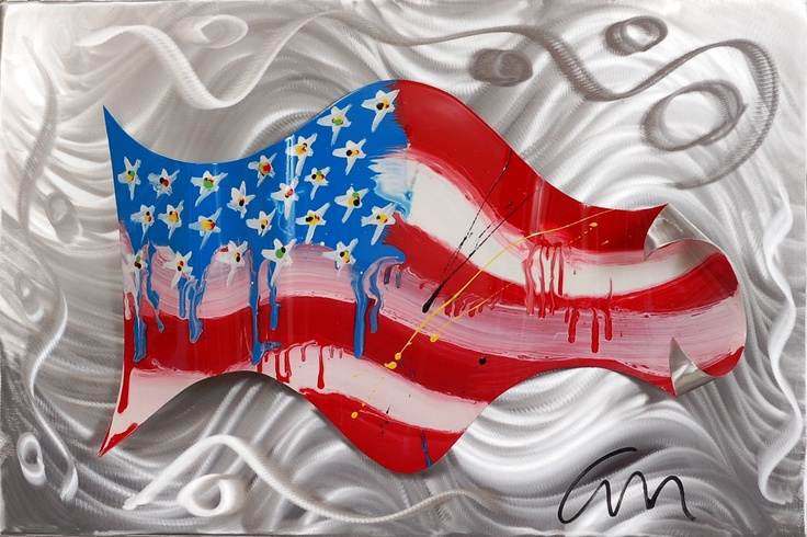 """""""America Wave - edition 3""""...welded aluminum painted Dupont automotive enamel...24"""" x 36"""" x 2""""...©Mac Worthington, artist  For further information on this piece or to discuss a custom design please call 614-582-6788 or email: macwartist@aol.com...$650"""