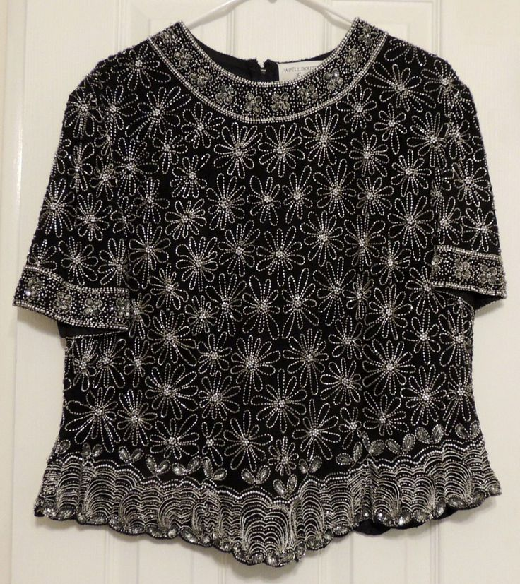 PAPELL BOUTIQUE EVENING BLACK HEAVILY BEADED EVENING BLOUSE SIZE 1X   eBay