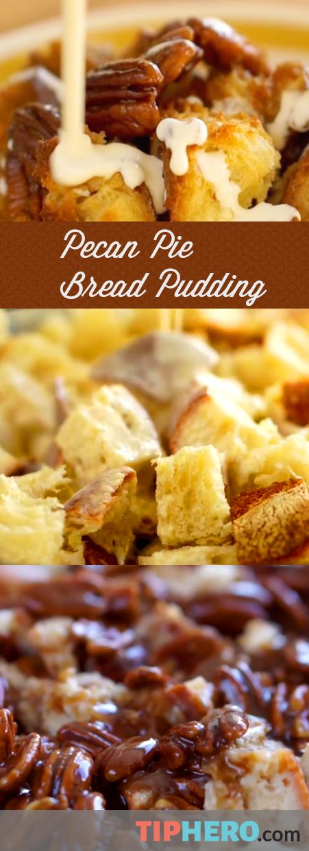 Pecan Pie Bread Pudding Recipe | This easy to make dessert is perfect for cold wintry nights. The key is using day old crusty bread and pecans of course. Click the link to view the how-to video.