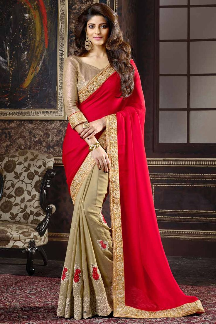Red With Beige Chiffon, Georgette And Satin Saree With Art Silk Blouse Price:  £59 Red with beige, chiffon, georgette and satin saree with beige, art silk blouse.  Embellished with resham, zari and stone embroidery. Saree with Designer Pallu and Lace Border ,V Neck Blouse, Quarter Sleeve Blouse.  It comes with unstitch blouse, it can be stitched to 34,36,38,40 sizes…