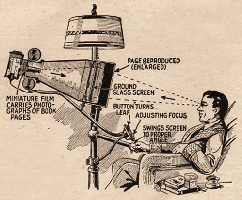 "The ""e-reader"" as depicted in the April, 1935 issue of Everyday Science and Mechanics."