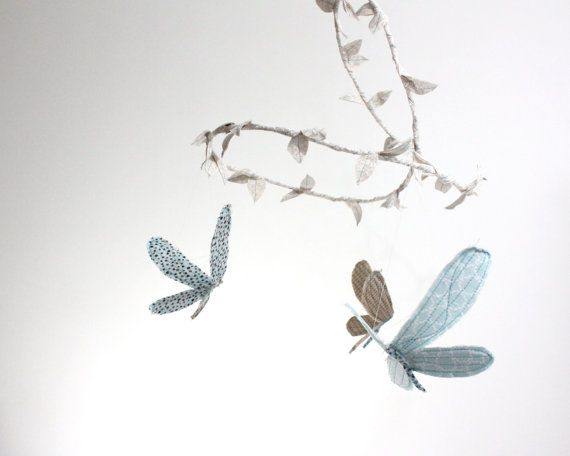Dragonfly Mobile for Traditional Nursery Decor - fabric mobile in cream, dusk blue, cafe au lait, and brown