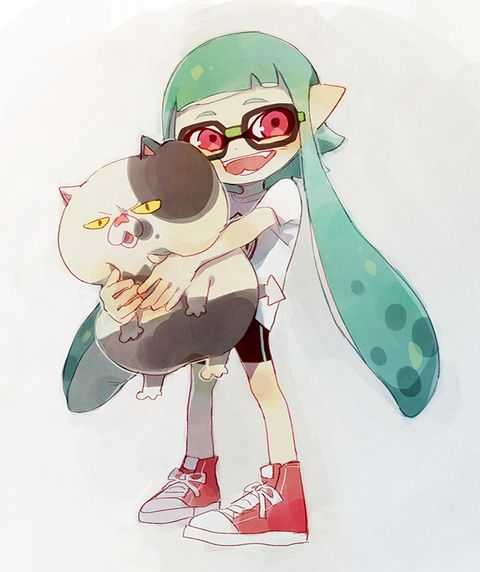 Judd the cat with Inkling girl.