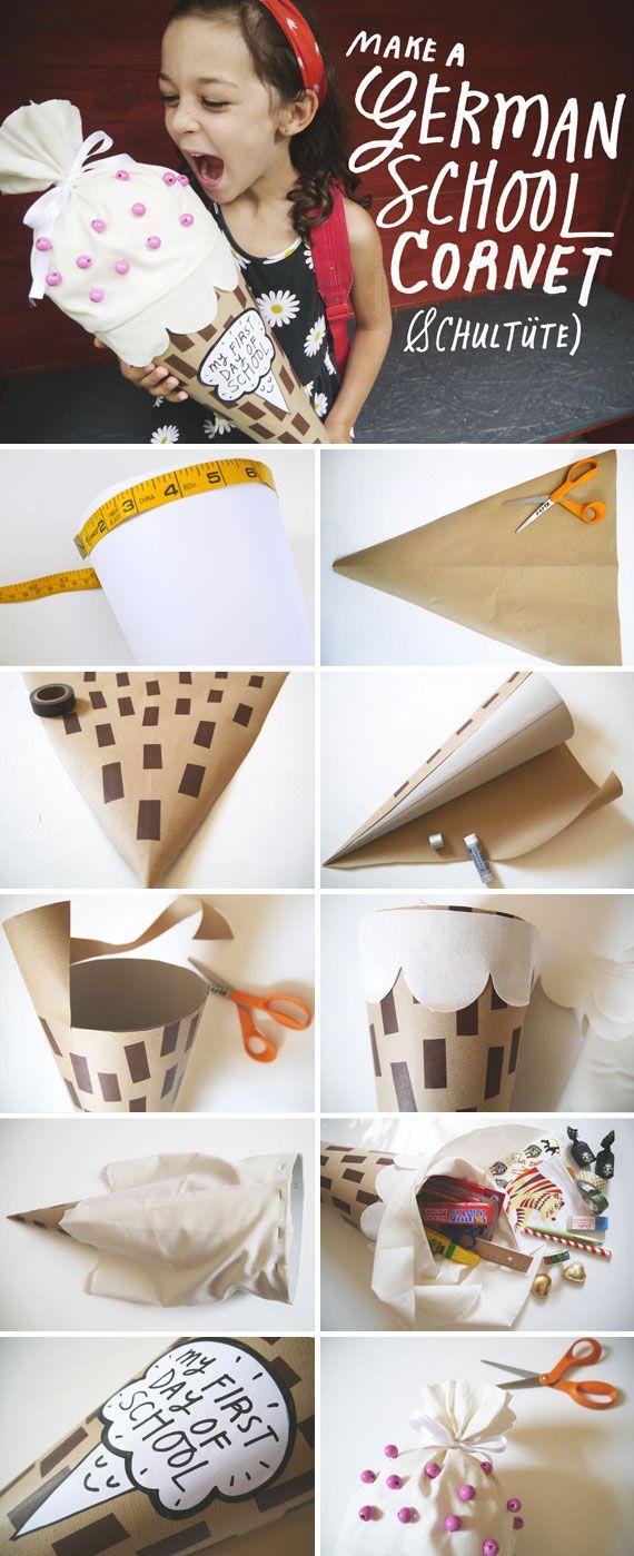 Bastelanleitung für eine Eis-Schultüte (auf englisch) // Anleitung von Anda Corrie, The Etsy Blog