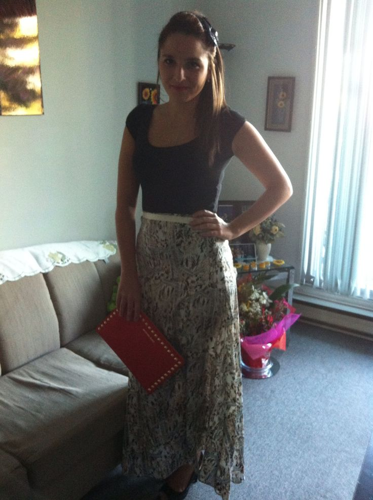 Silky maxi skirt with michael kors clutch