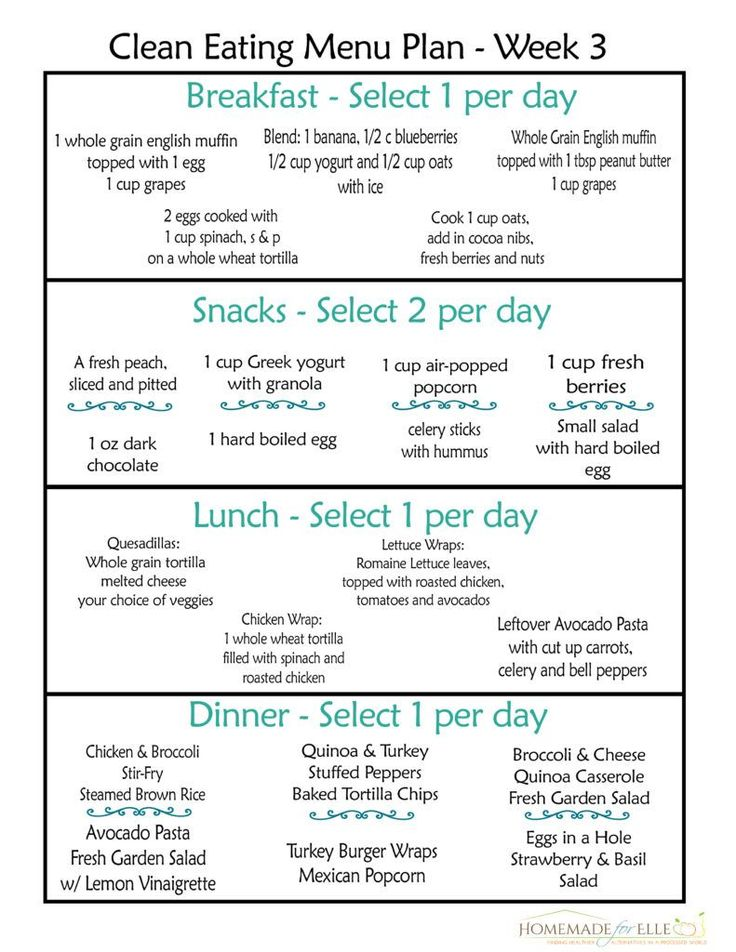 Clean Eating Meal Plan. Here is week 3 of your free clean eating meal plans! Printable menus and recipes for breakfast, lunch, dinner and snack! homemadeforelle.com