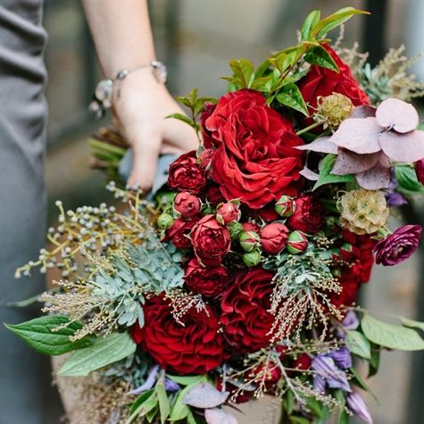 Burgundy Hued Bridesmaid Bouquet