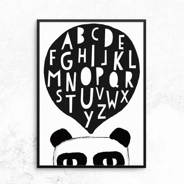 Help little ones to learn their letters, PANDA-STYLE!Size 50cm x 70cm - Printed on 170gsm FSC Eco paper with vegetable inks for a long lasting print.(Frame not supplied).By Seventy Tree #kidsdecor #print #pandaprint