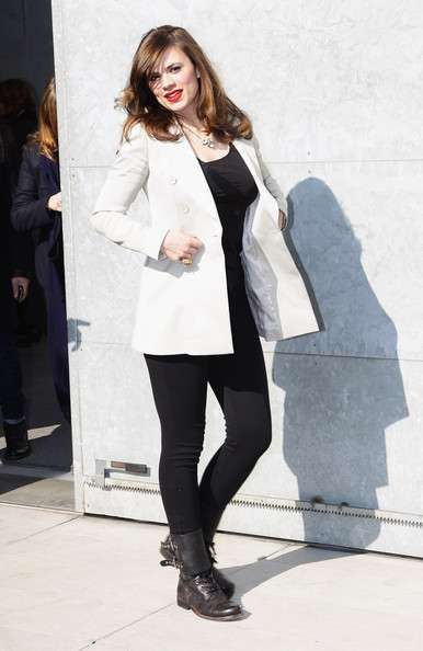 Hayley Atwell in White Tailored Coat