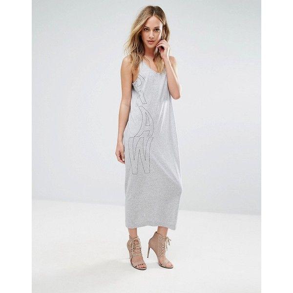 G-Star Aeria Tank Midi Dress ($48) ❤ liked on Polyvore featuring dresses, grey, grey midi dress, scoop-neck dresses, calf length dresses, tall dresses and midi dress
