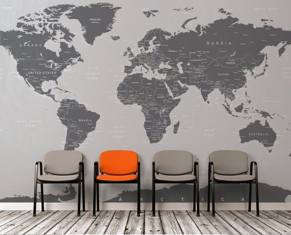 Large Grey World Map Wall Mural Wall Covering Simple Peel And Stick No Glue Needed 6133 Map Wall Mural World Map Wall Decal World Map Wall