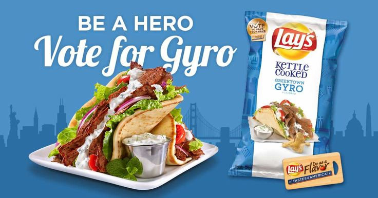 Be a hero, vote for Gyro – If you're searching for a savory flavor with a satisfying crunch, look no further. Vote daily for Lay's Kettle Cooked Greektown Gyro. #FlavorAmbassadors