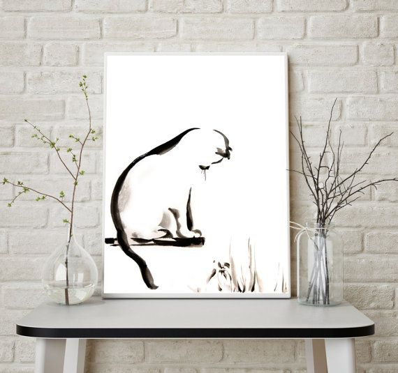 Cat Print, Minimalist Cat Painting, Watercolor Painting Art Print, Cat Wall  Art,