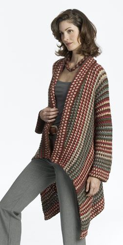 Asymmetry Jacket. This intermediate crochet pattern creates a long jacket with a fashionable asymmetrical hem. This jacket crochet pattern also features a great pattern of colourful stripes.