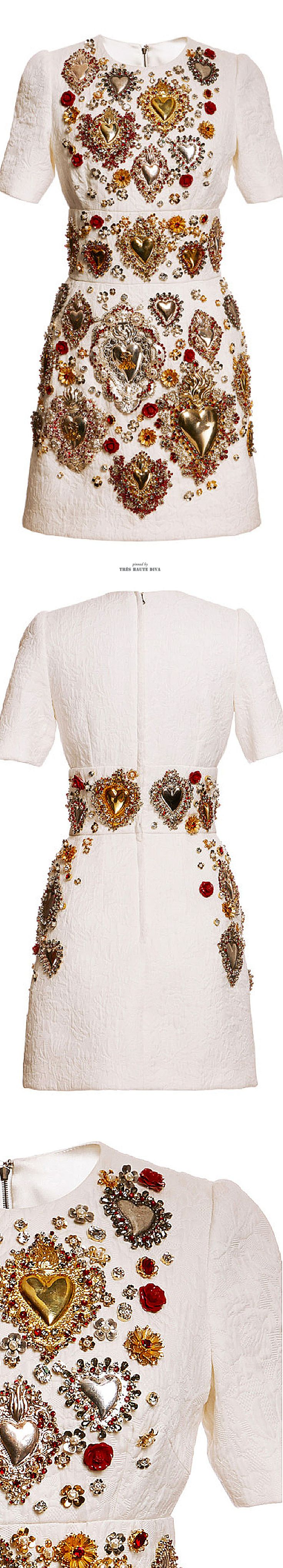 Dolce & Gabbana Sacred Heart Embellished Short Sleeve Brocade Dress SS 2015