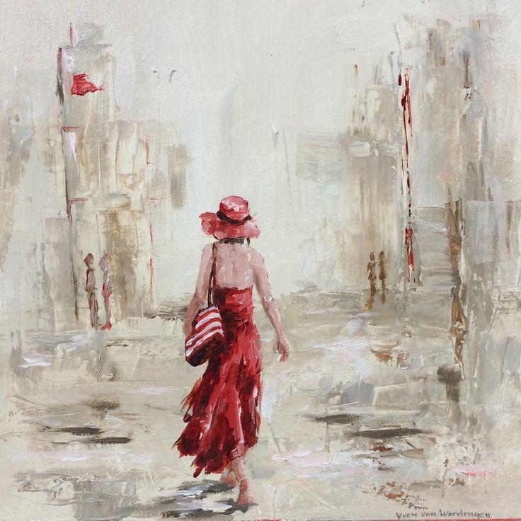 Hedendaagse kunst, vrolijk, stad, vrouwen, meisjes, figuratief, schilderij, New York, Parijs, Amsterdam, Rotterdam, schilderijen, blauw, lichte kleur, rood, fietsend meisje, interieur, www.yvonvanwordragen.nl, yvon, velp, arnhem
